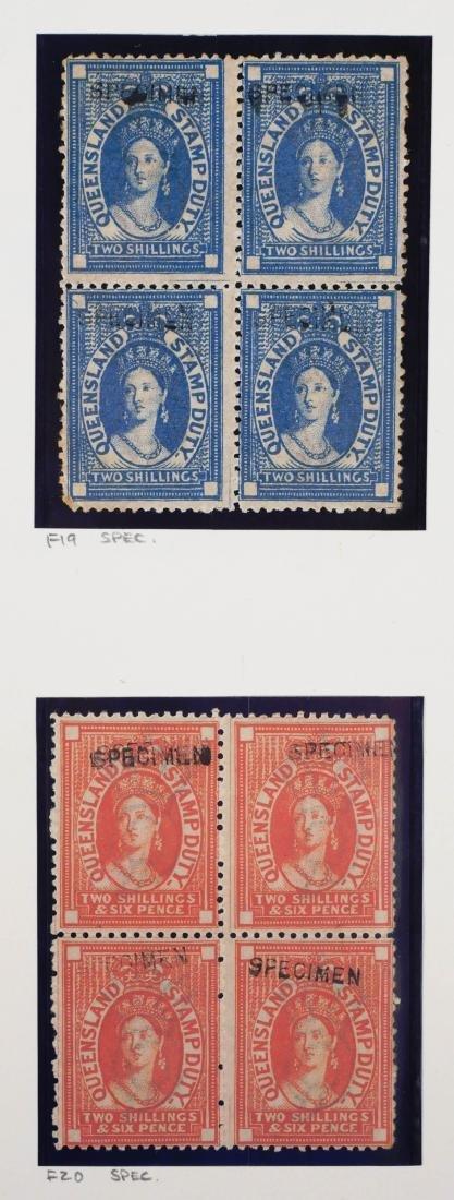 QUEENSLAND, Postal Fiscals Specimen Blocks of 4