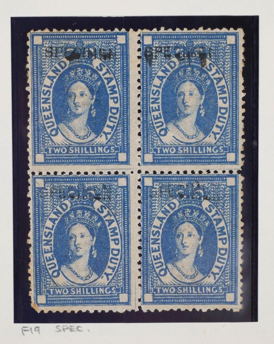 QUEENSLAND, Postal Fiscals Specimen Blocks of 4 - 2