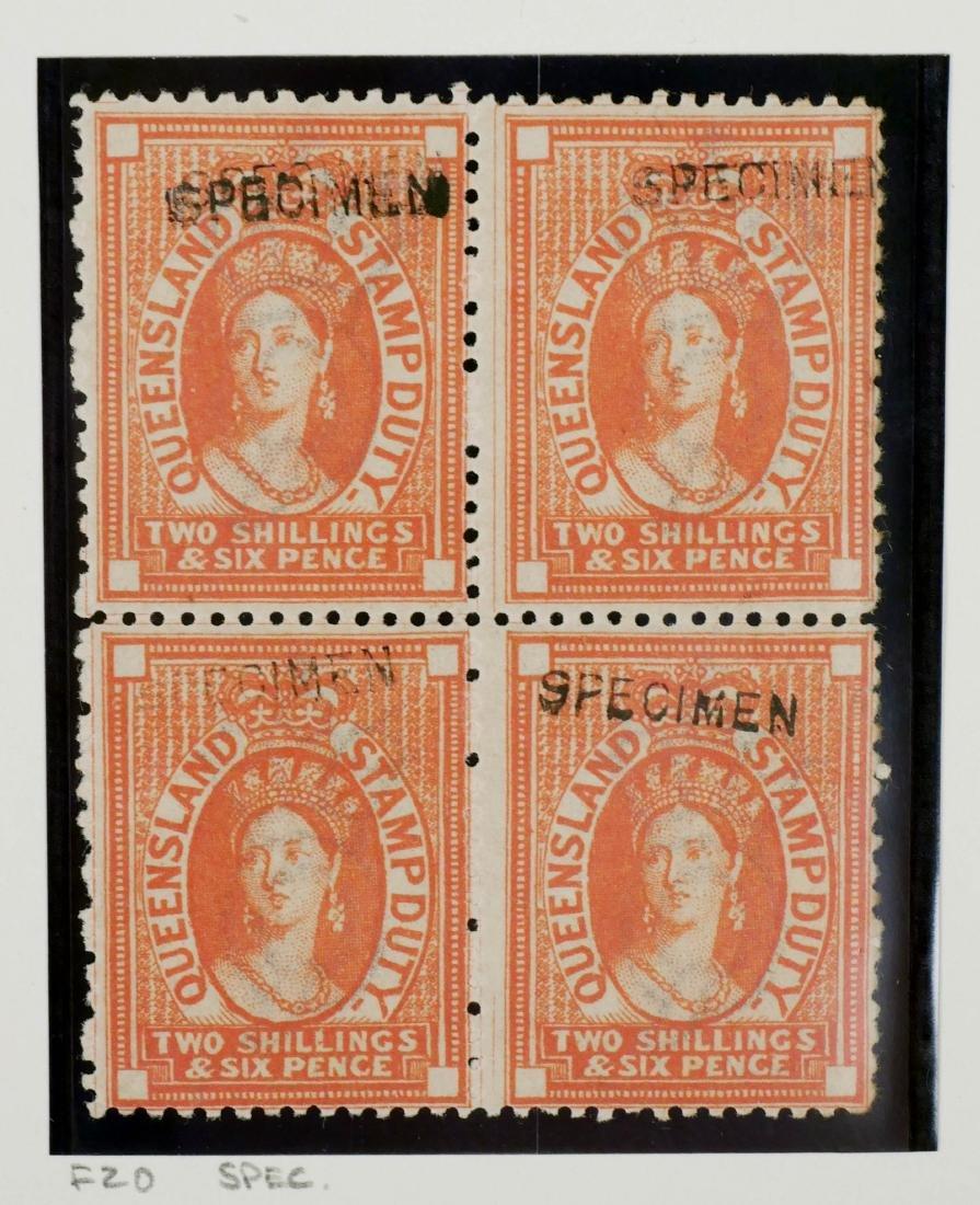 QUEENSLAND, Postal Fiscals Specimen Blocks of 4 - 3
