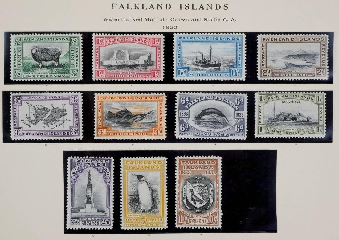 FALKLAND ISLANDS, 1933 1/2p to 10sh unused