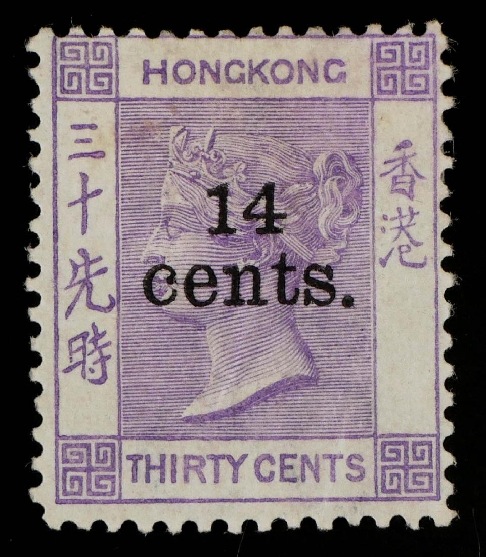 HONG KONG, 1891 14c on 30c violet #65 - 2