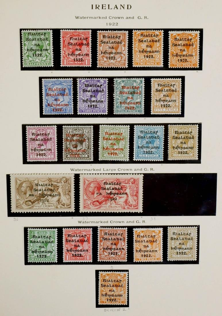 IRELAND, 1922, 22 stamps including #36 & NH #37