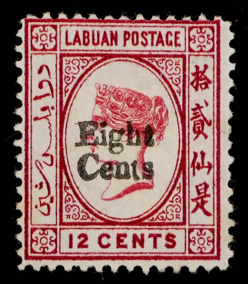 LABUAN, 1880-83, 8c on 12c car surcharge - 2