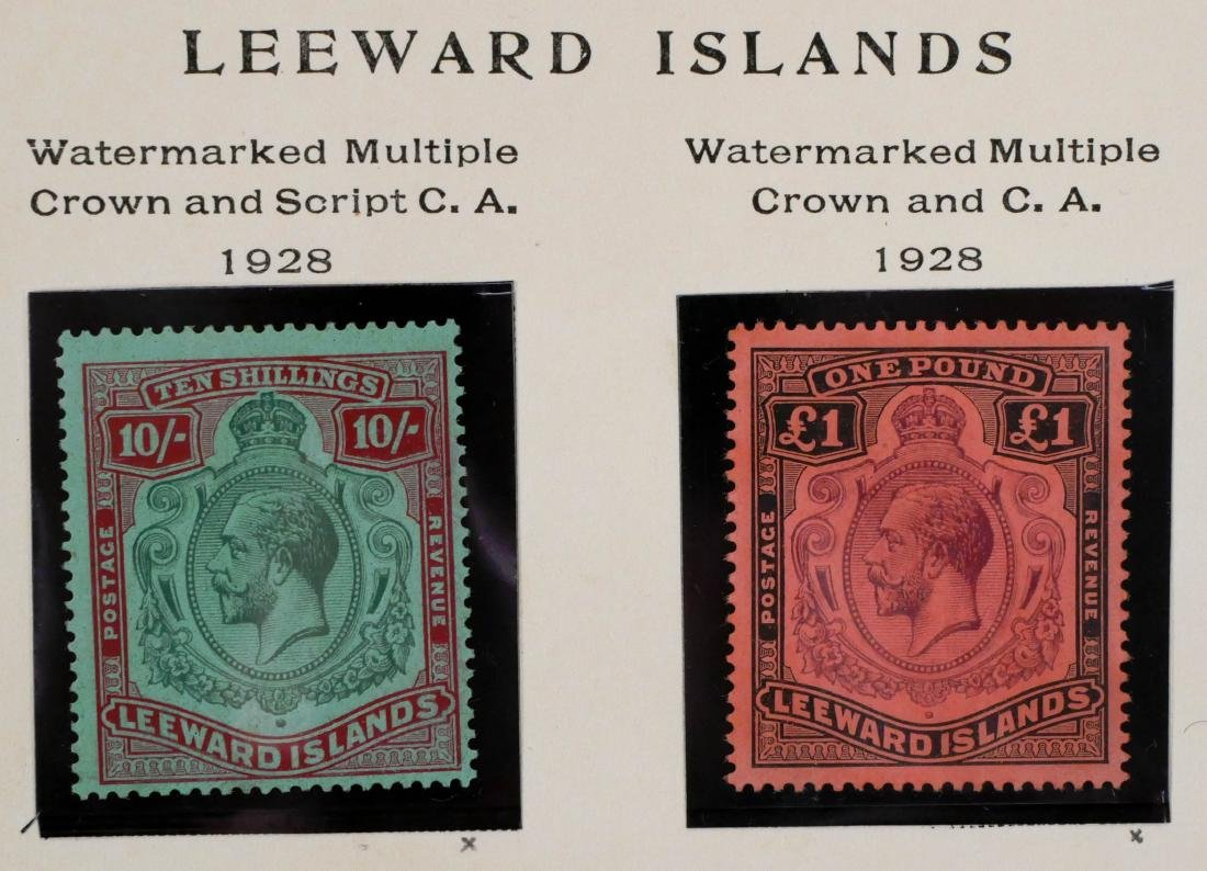 LEEWARD ISLANDS, 1928 10sh 1 pound, #82-83