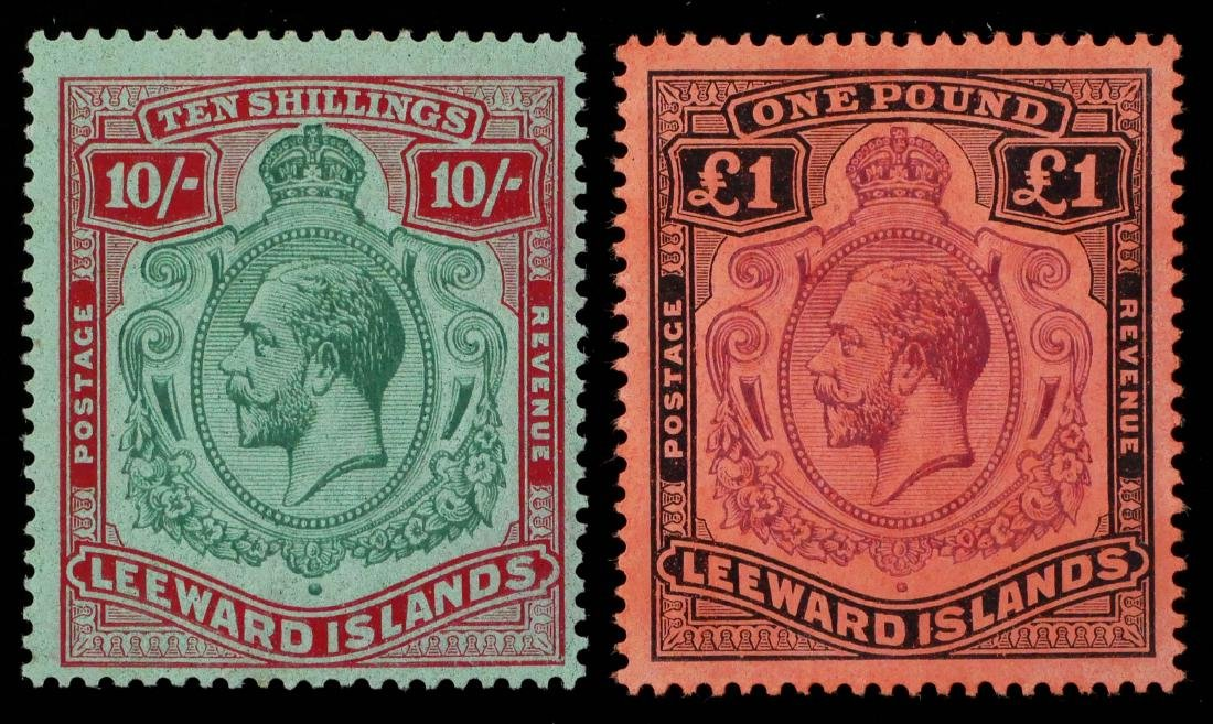 LEEWARD ISLANDS, 1928 10sh 1 pound, #82-83 - 2