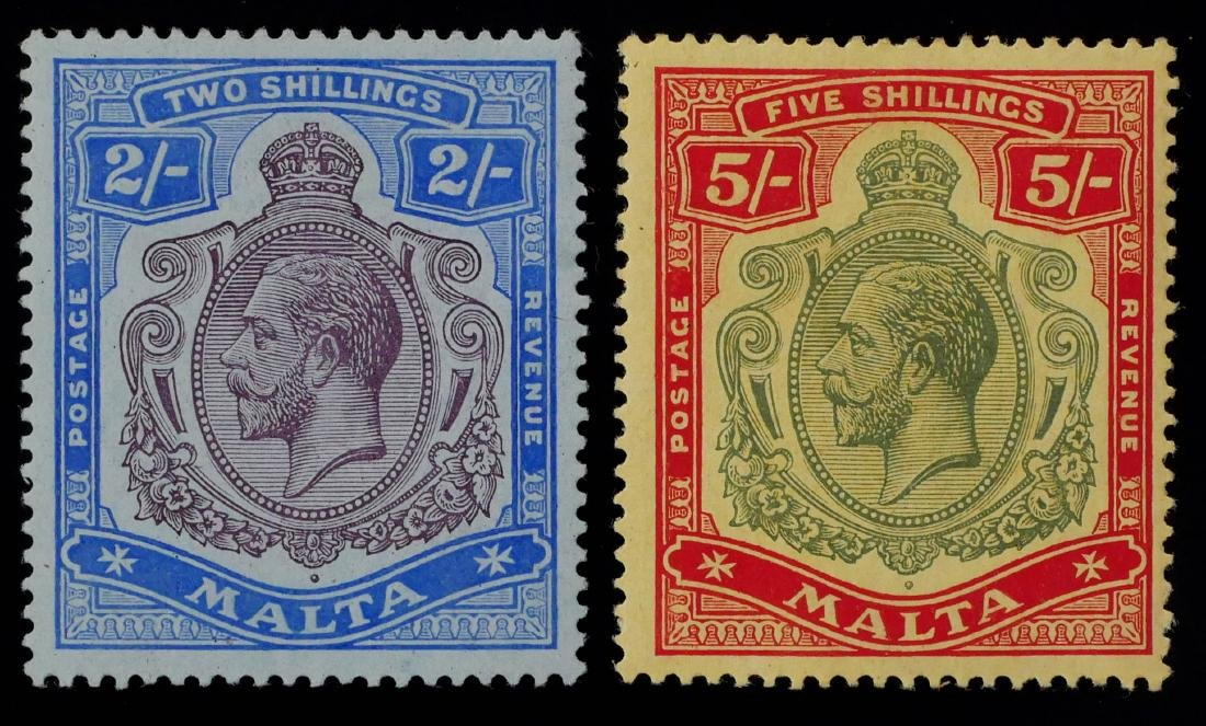 MALTA, 1914-21, 2sh 5sh #60-61 unused