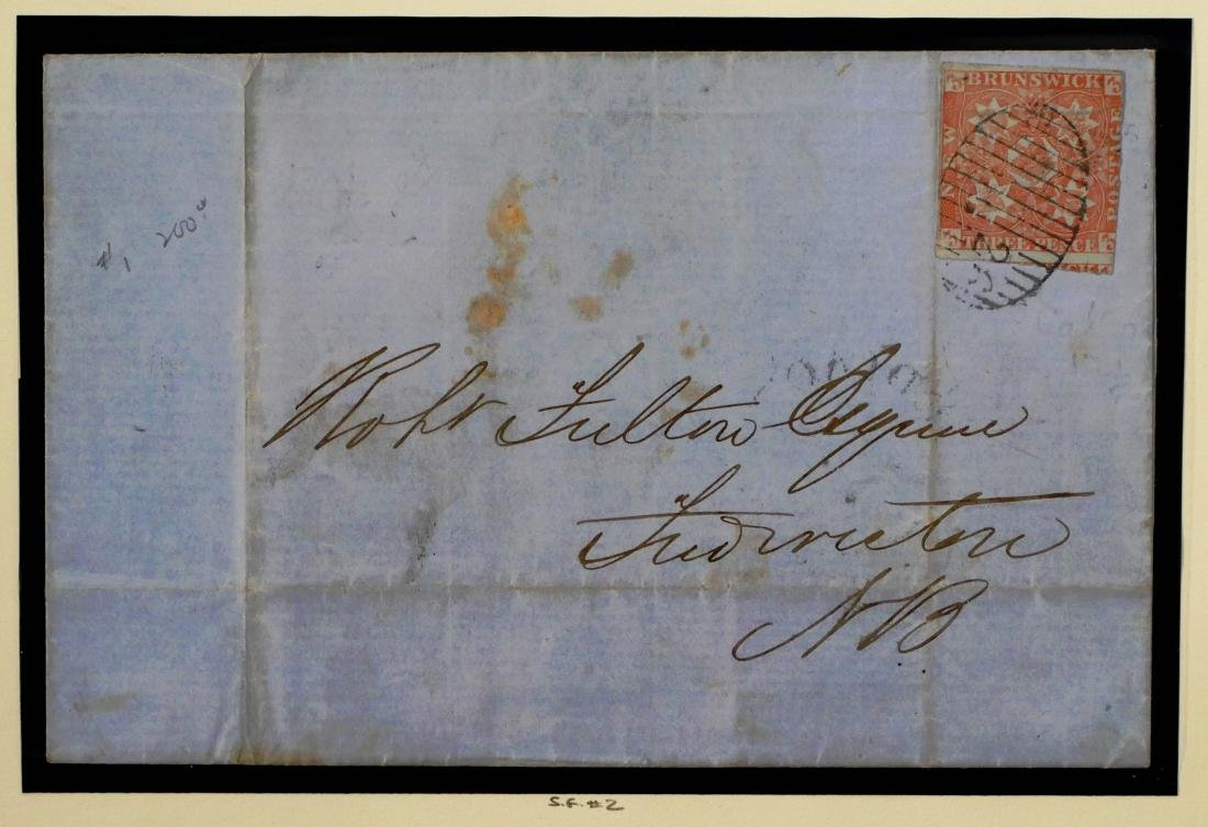 NEW BRUNSWICK, 1851, 3p red #1 on Cover CV $1,100