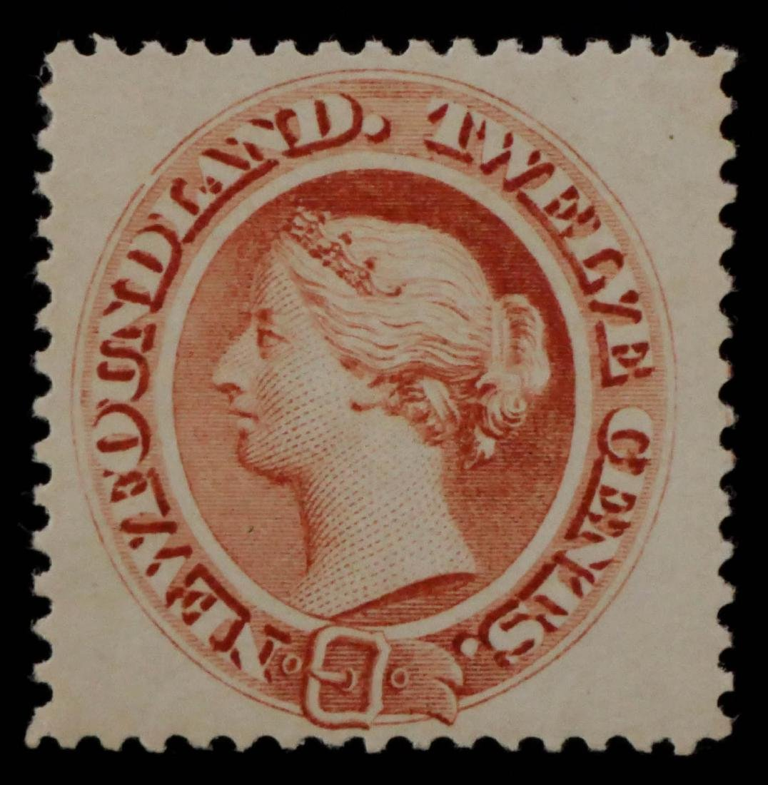 NEWFOUNDLAND, 1865-94, 12c pale red brn #28a