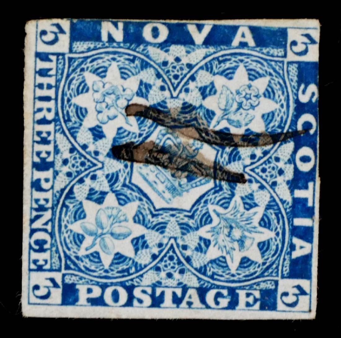 NOVA SCOTIA, 1851-53, 3p bright blue #2 used