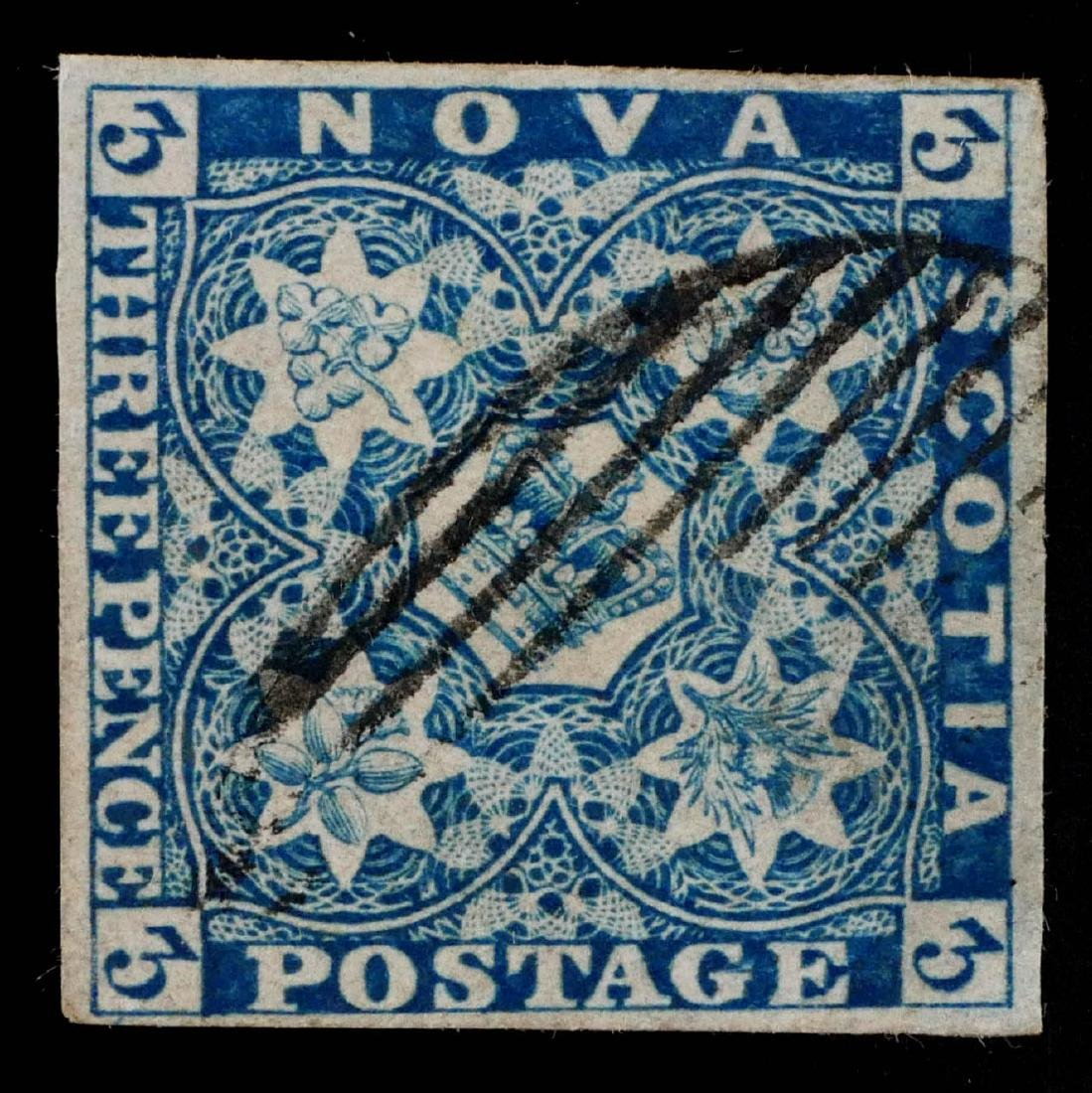 NOVA SCOTIA, 1851-53, 3p dark blue #3 used