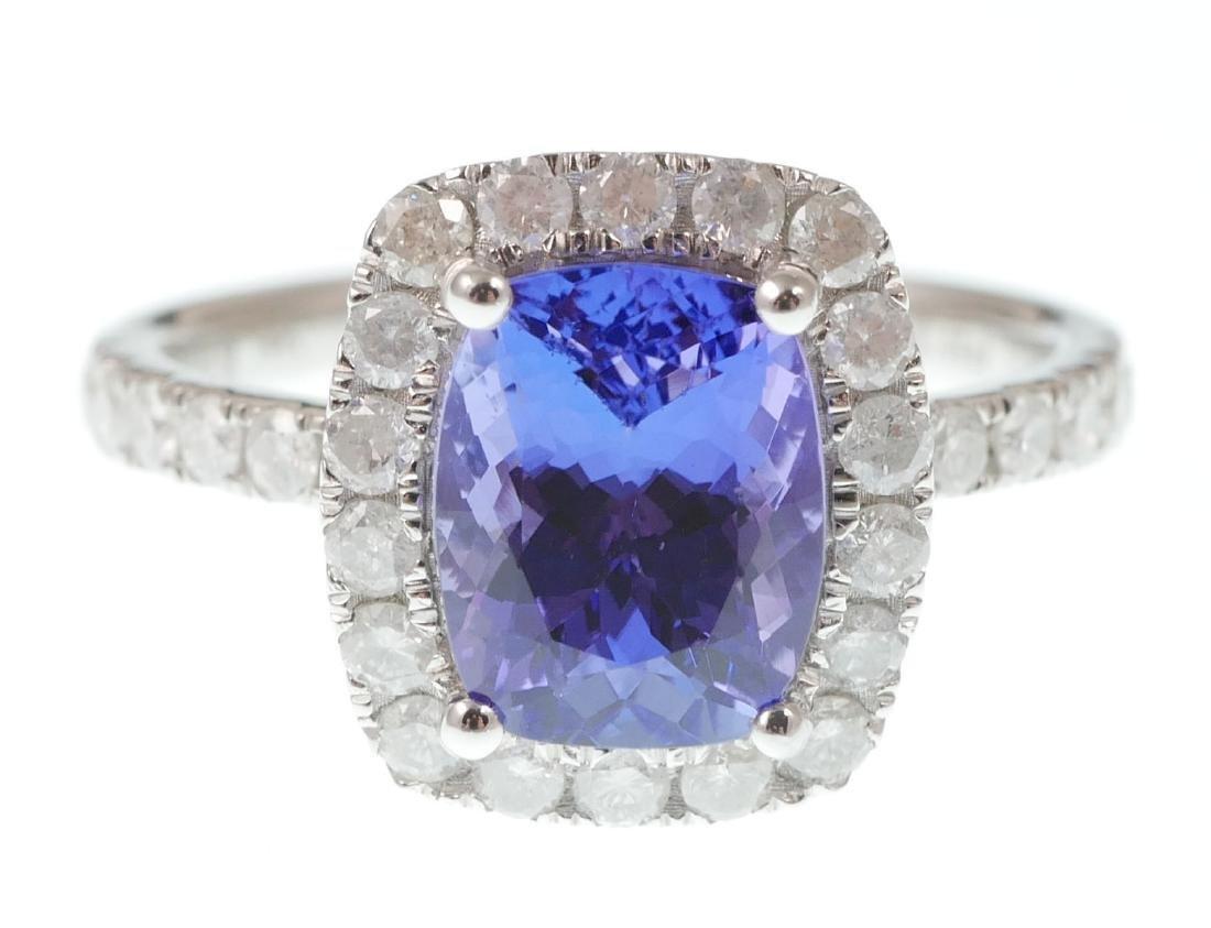 14k White Gold Tanzanite & Diamond Ring