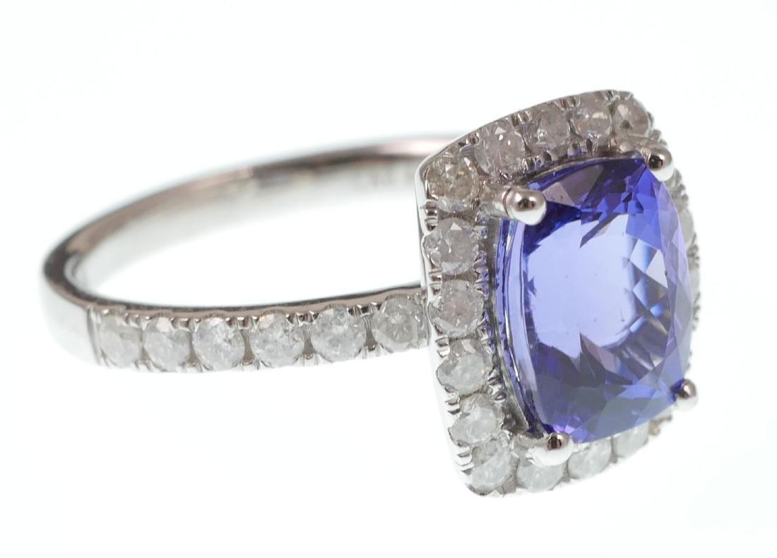 14k White Gold Tanzanite & Diamond Ring - 2
