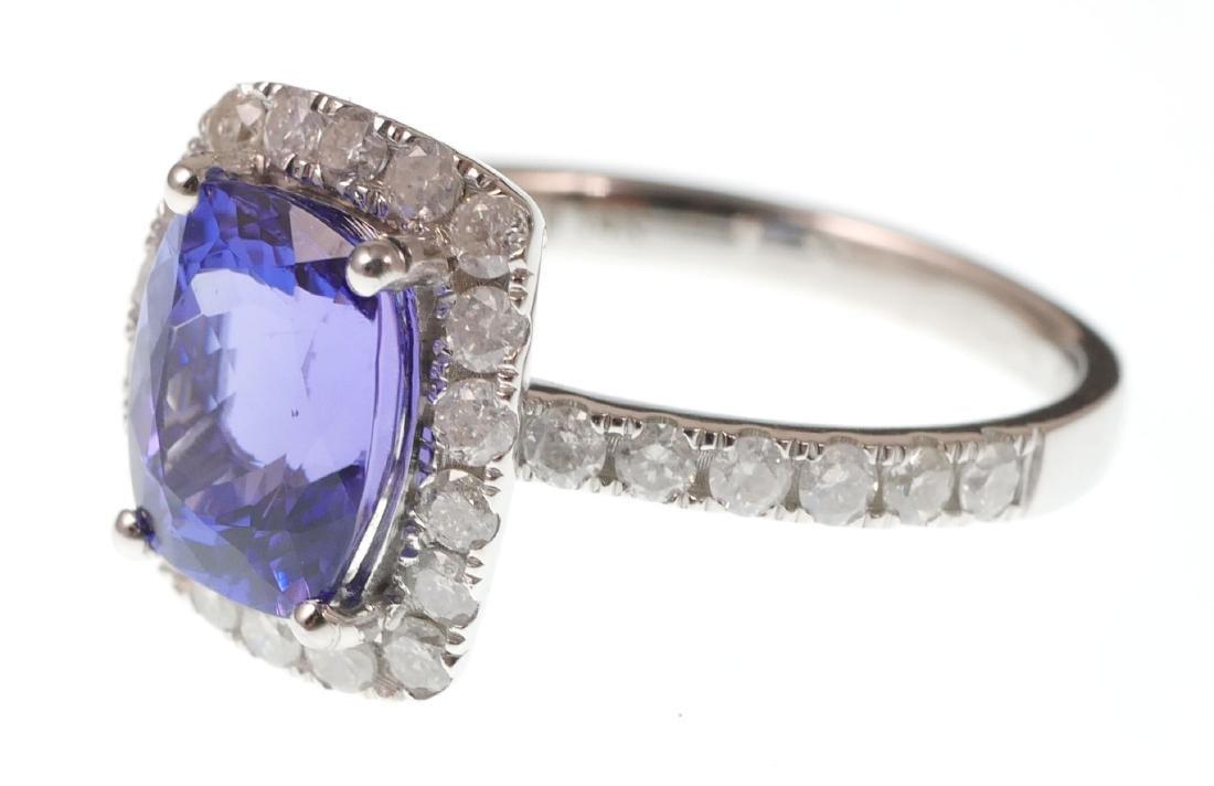 14k White Gold Tanzanite & Diamond Ring - 3
