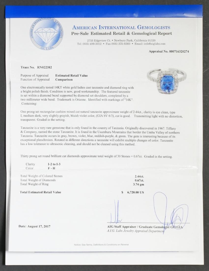 14k White Gold Tanzanite & Diamond Ring - 4