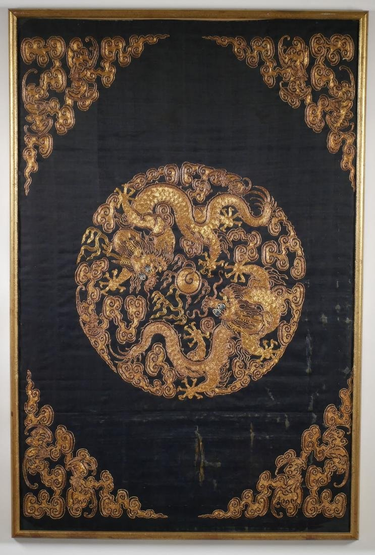 Antique Chinese Gold Silk Embroidery Dragons