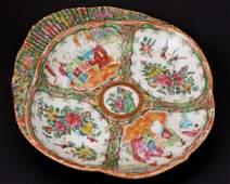 Antique Chinese Rose Medallion Shrimp Plate