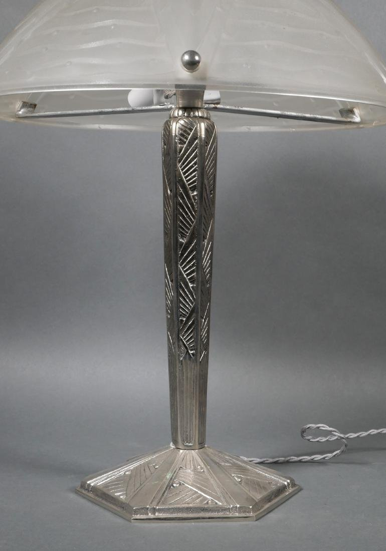 Silver Metal Art Deco Lamp w/ Frosted Glass Shade - 3