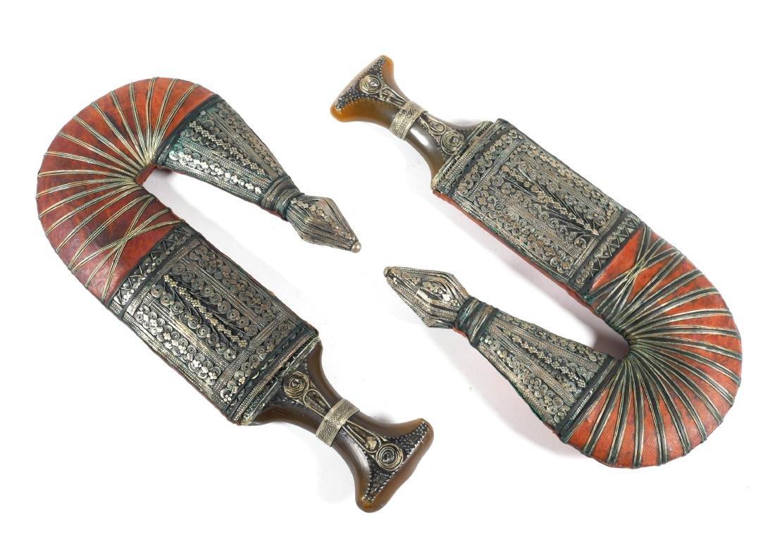 Pair of Arabian Silver Mounted Jambiya Daggers