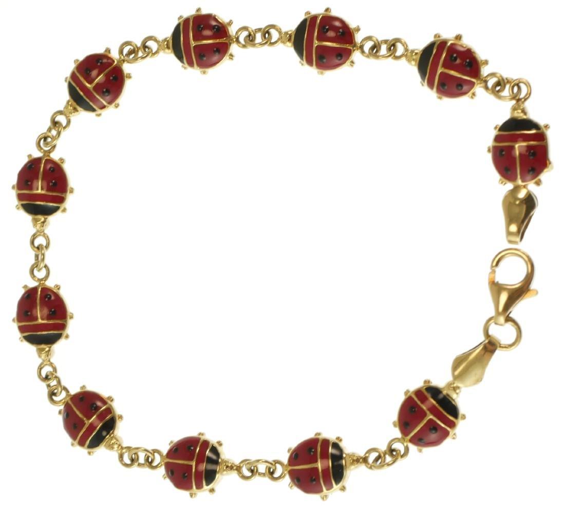 14k Gold Ladybugs Enamel Bracelet