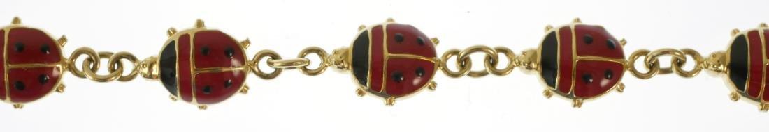 14k Gold Ladybugs Enamel Bracelet - 2