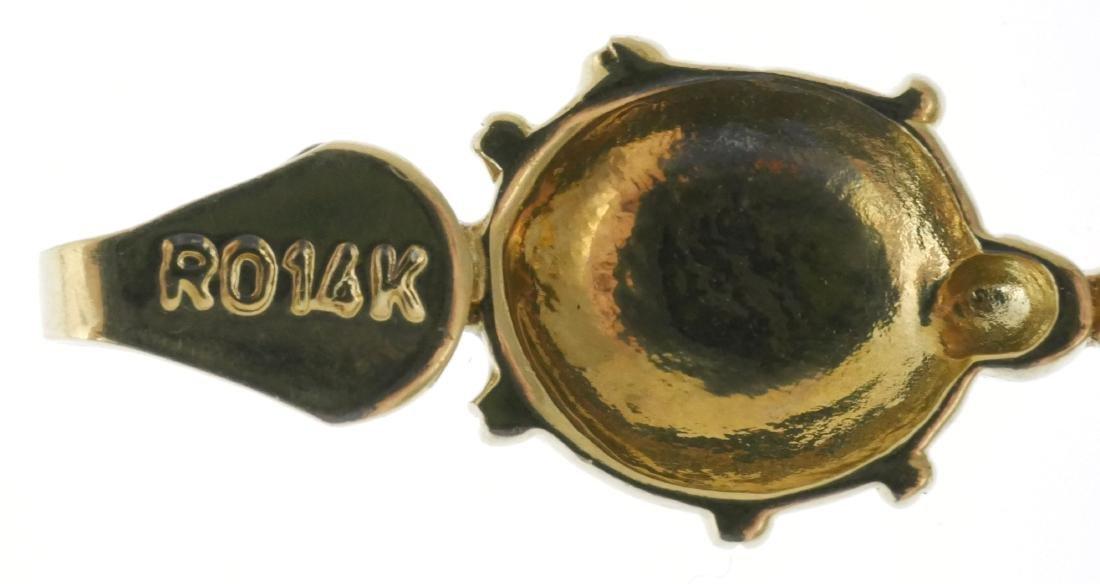 14k Gold Ladybugs Enamel Bracelet - 4