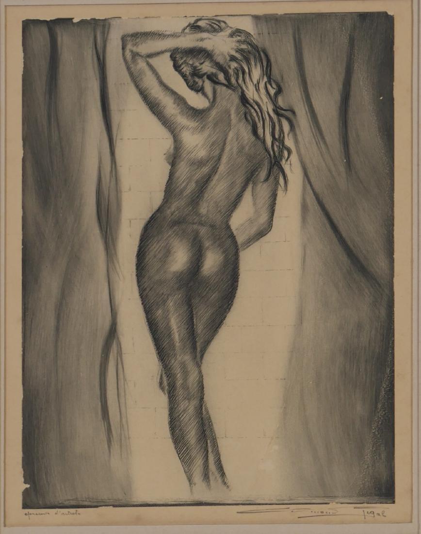 Edmond Rigal Nude Female Eau Forte Etching