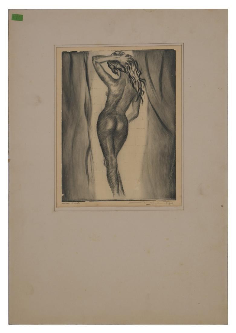 Edmond Rigal Nude Female Eau Forte Etching - 2