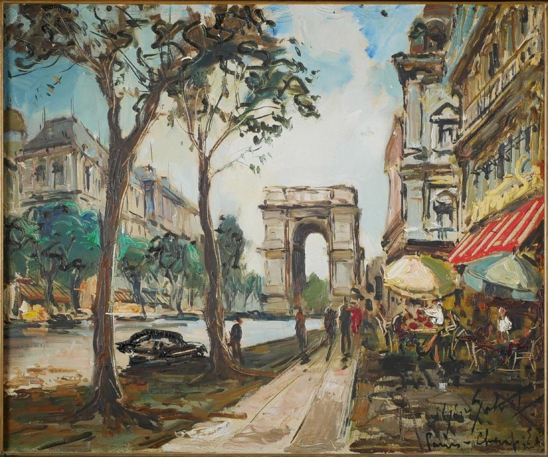 Gino Salviati Painting - Paris Street Scene