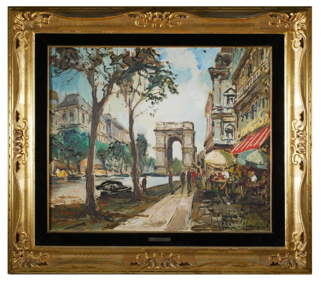 Gino Salviati Painting - Paris Street Scene - 2