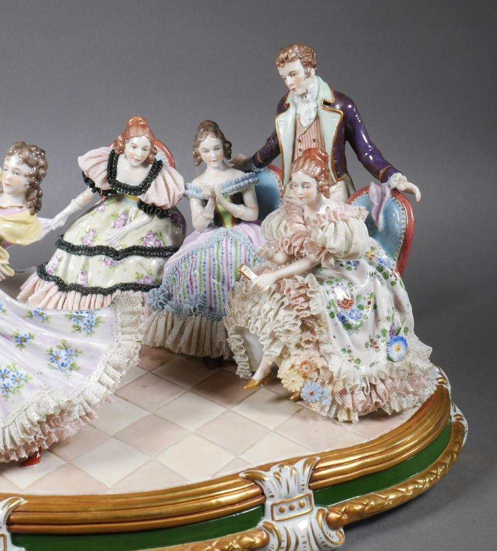 Antique Porcelain Figural Group Dresden Sitzendorf - 3