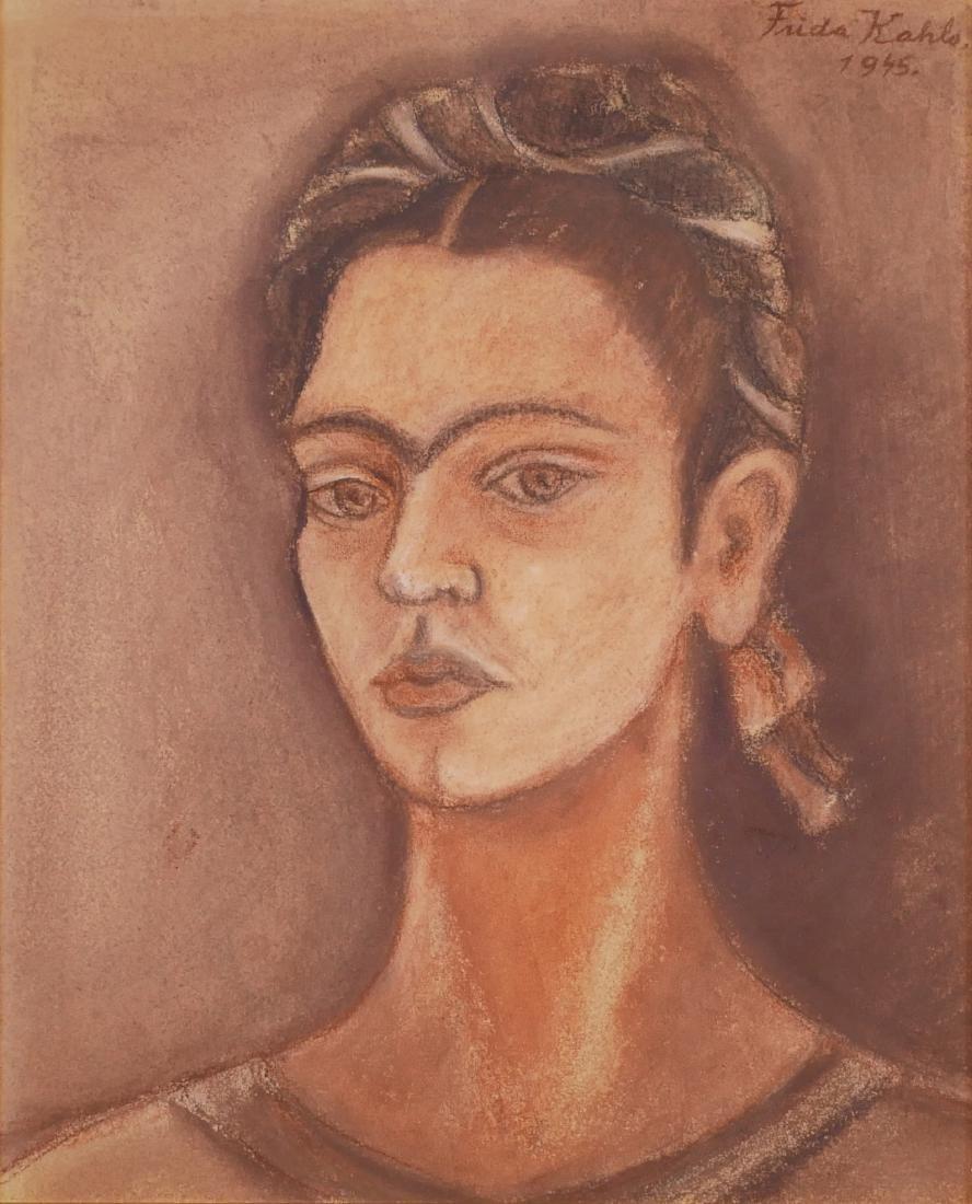 Pastel Portrait, Style of Frida Kahlo
