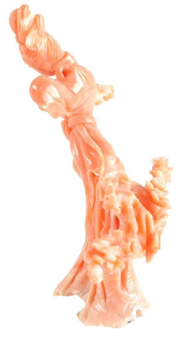 Carved Chinese Coral Goddess with Flowers - 4