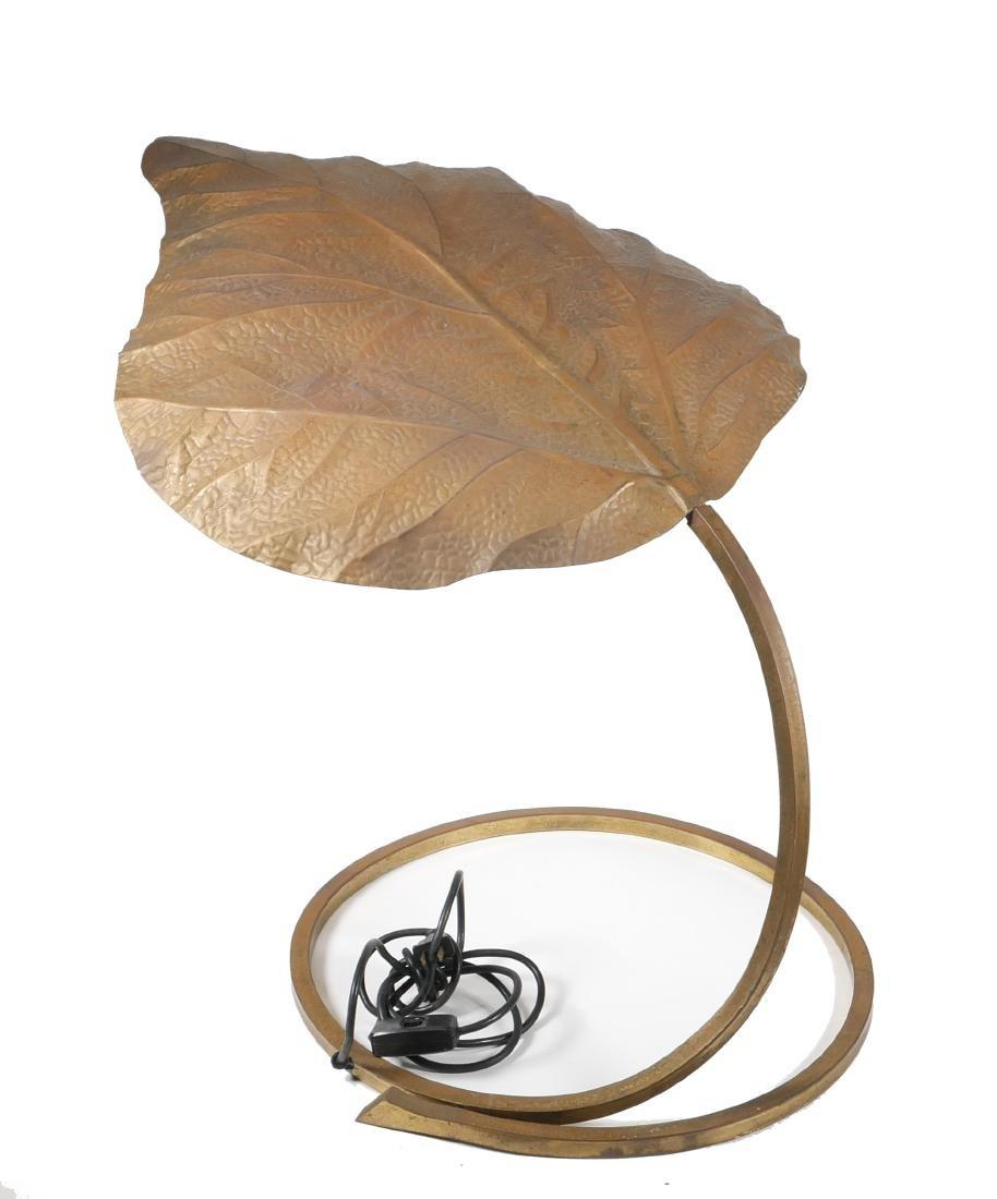 Tommaso Barbi Italian Brass Leaf Table Lamp