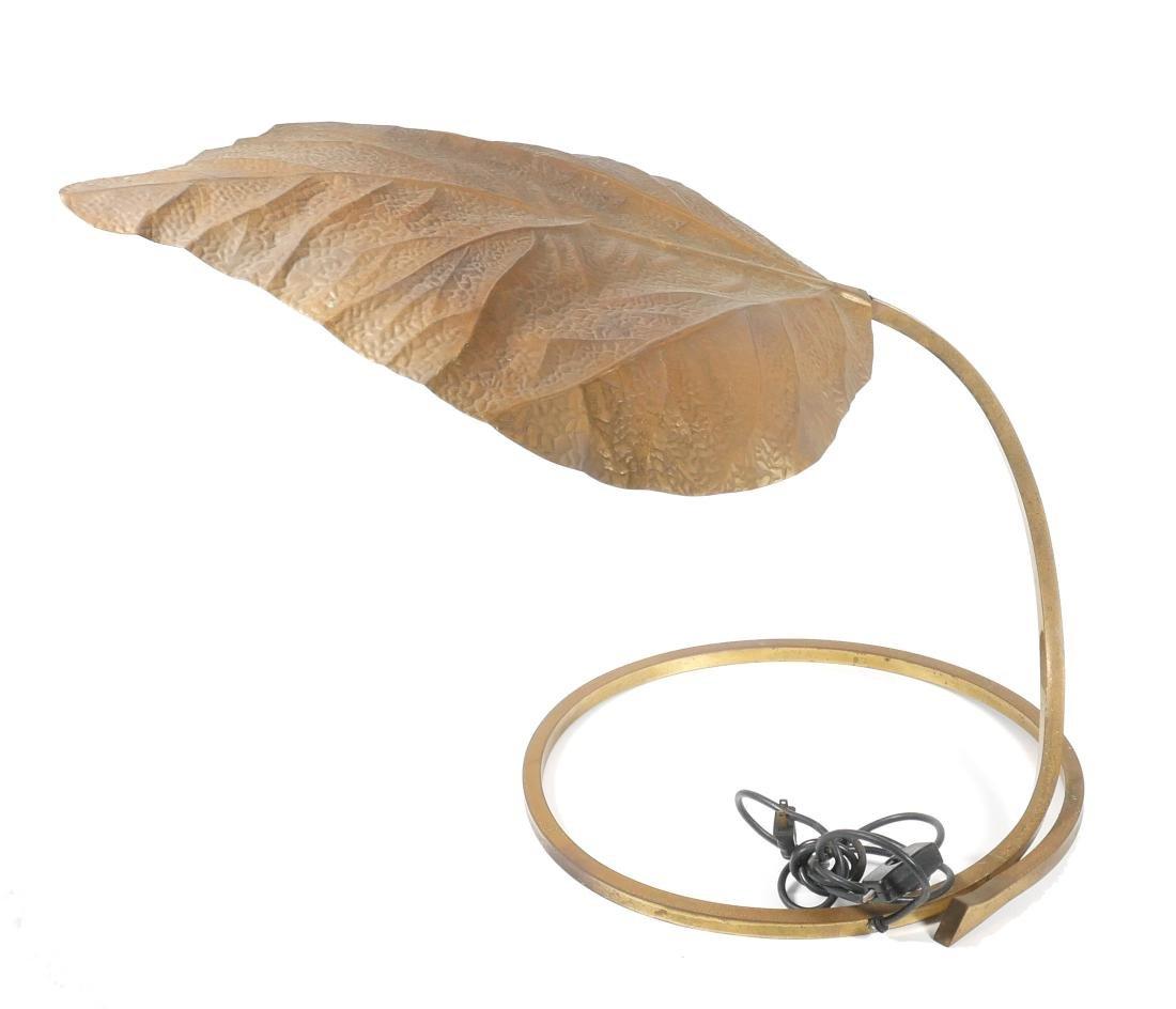 Tommaso Barbi Italian Brass Leaf Table Lamp - 3