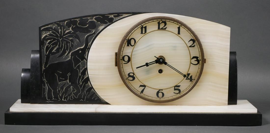 Art Deco Marble & Onyx Elephant Mantel Clock