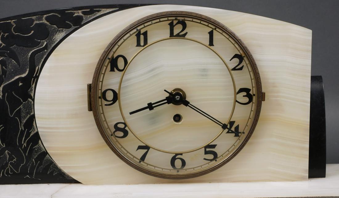 Art Deco Marble & Onyx Elephant Mantel Clock - 2