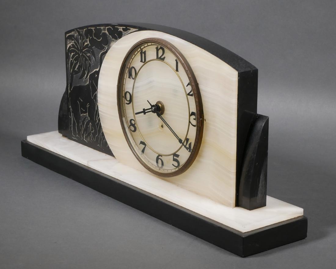 Art Deco Marble & Onyx Elephant Mantel Clock - 3