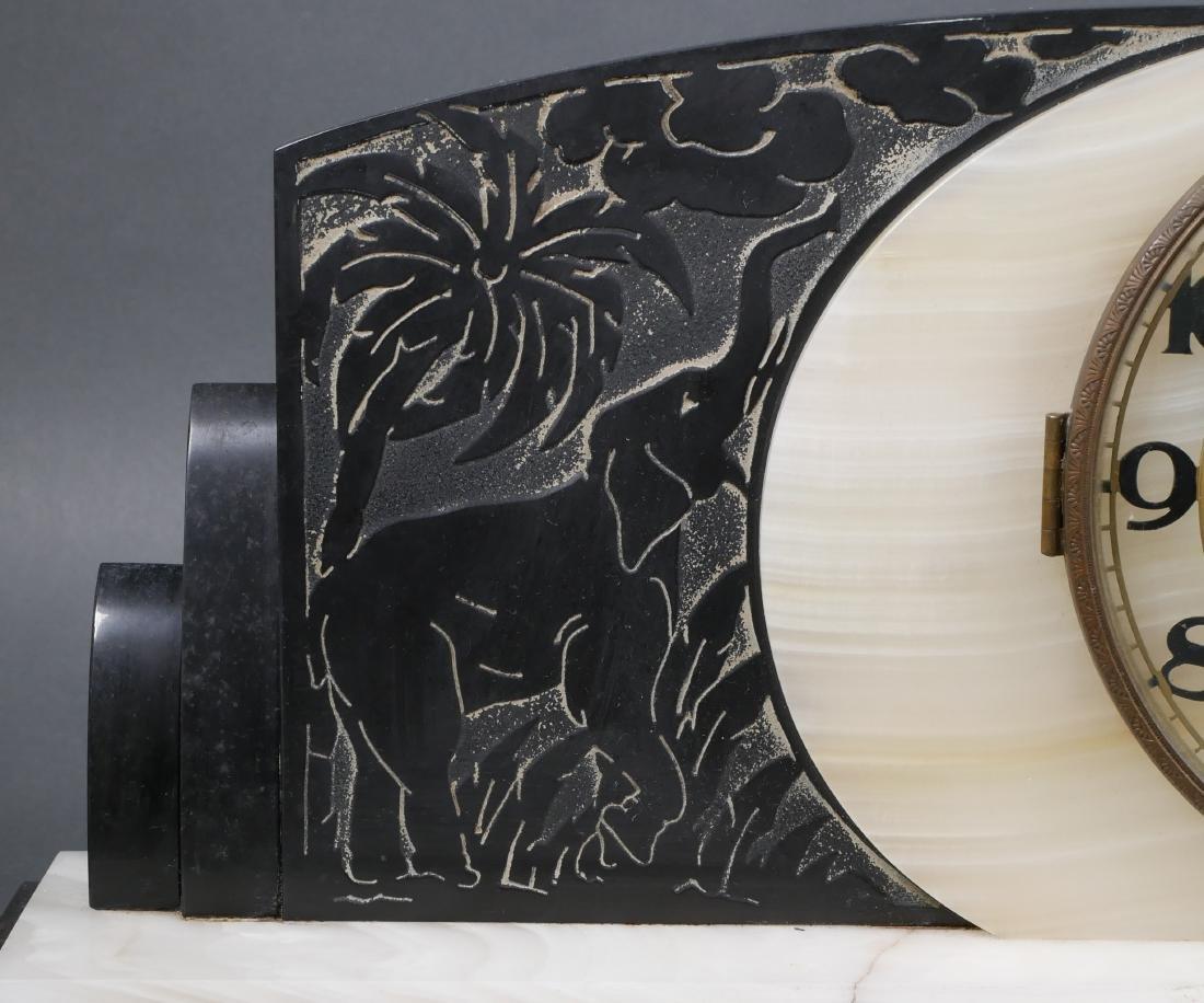 Art Deco Marble & Onyx Elephant Mantel Clock - 4