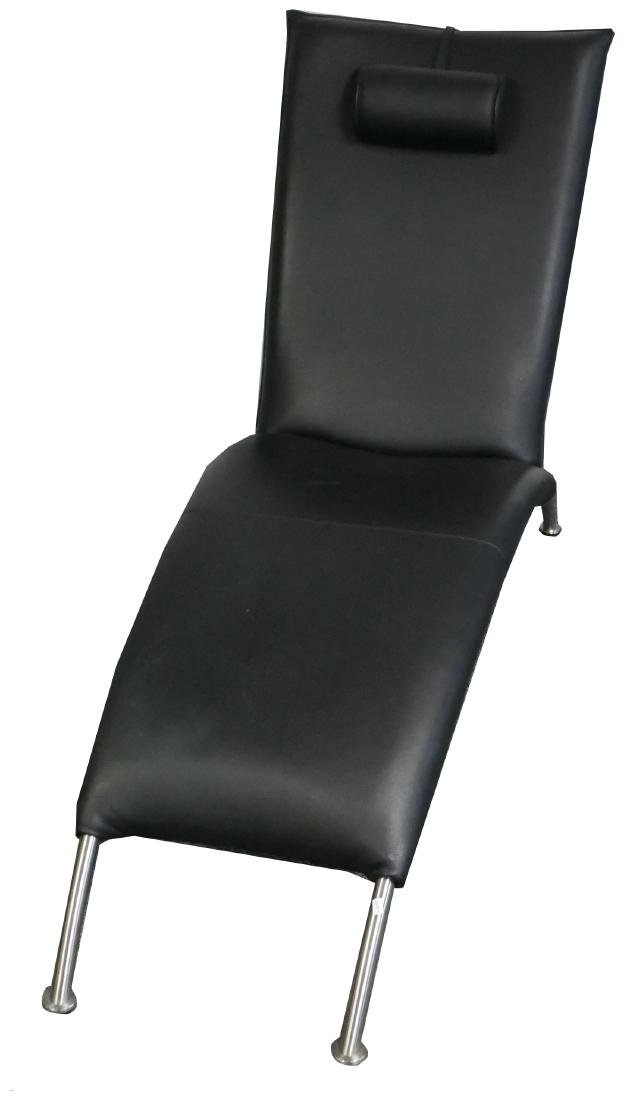 Contemporary Black Leather Chaise Lounge