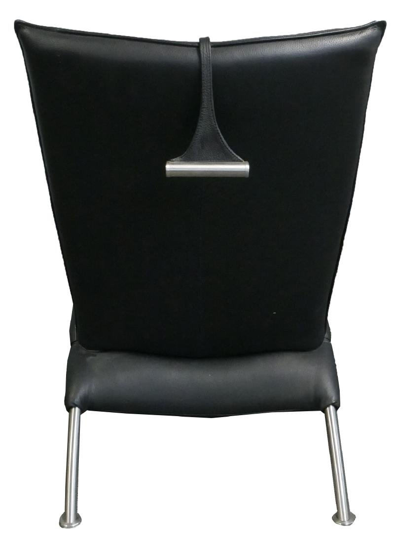 Contemporary Black Leather Chaise Lounge - 4