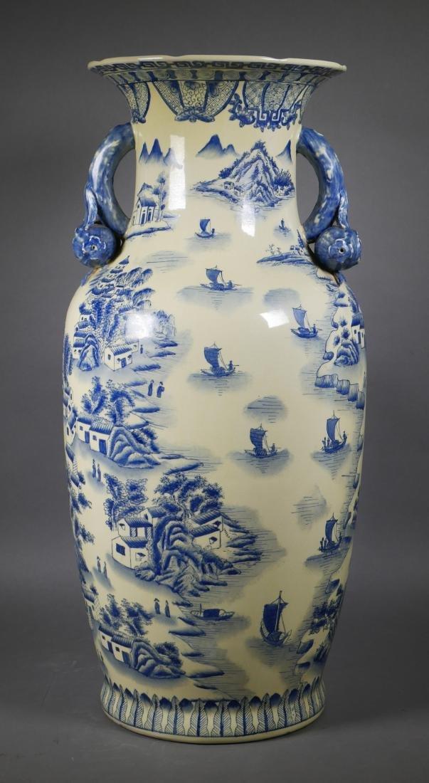Chinese Blue & White Pomegranate Handle Floor Vase - 3