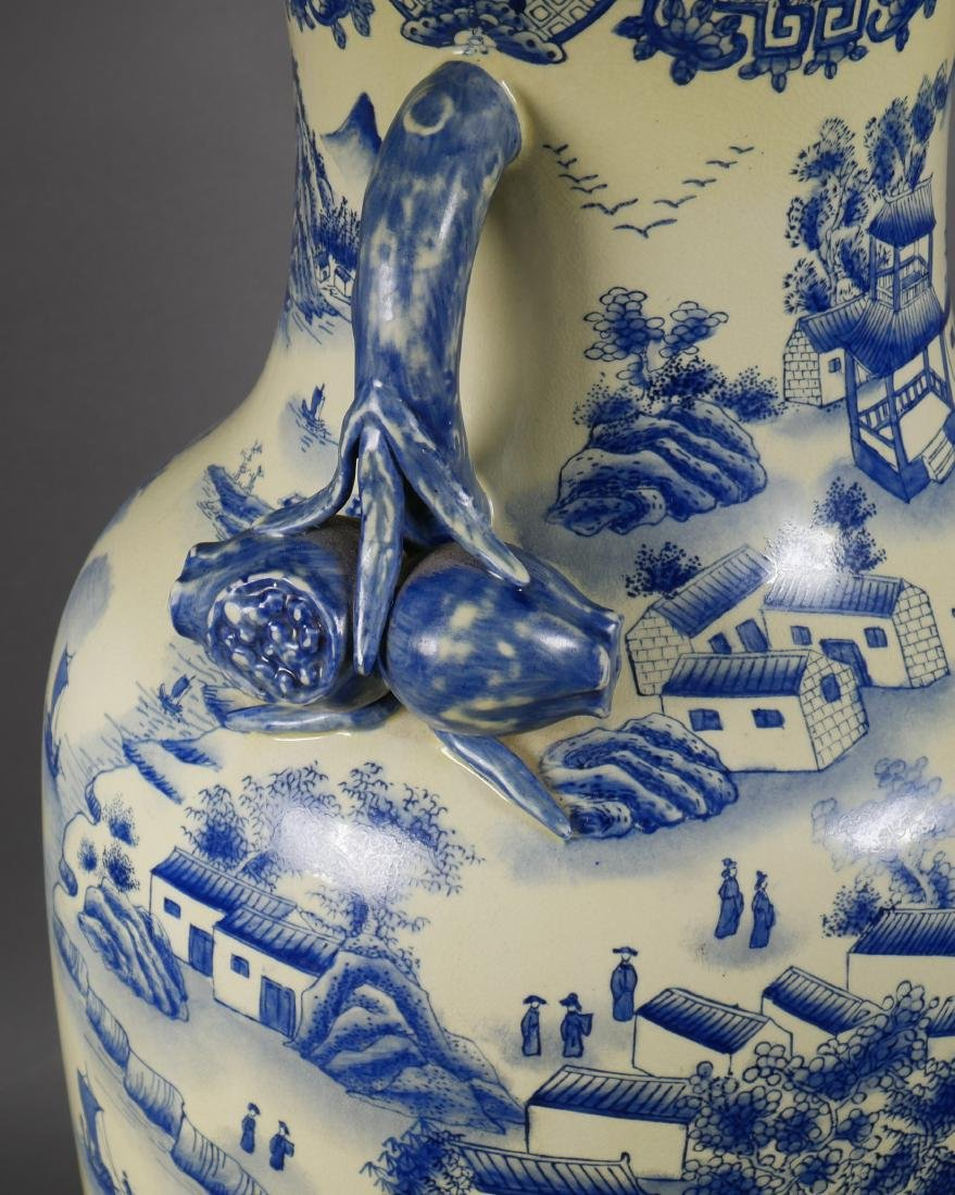 Chinese Blue & White Pomegranate Handle Floor Vase - 5