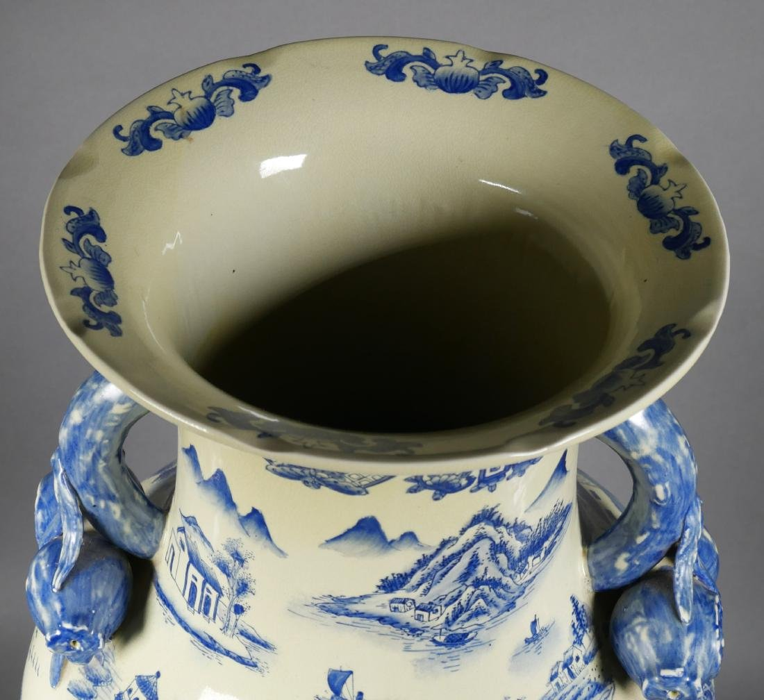Chinese Blue & White Pomegranate Handle Floor Vase - 6