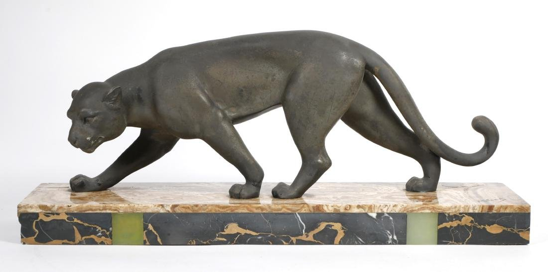 Art Deco Meland Panther Statue on Marble Base