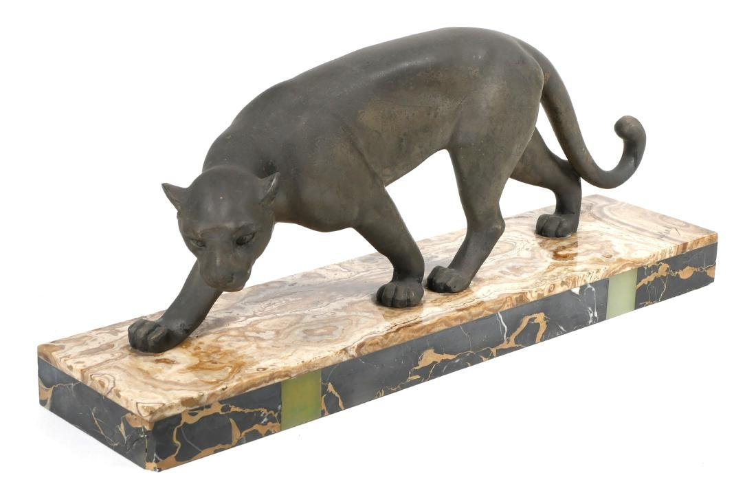 Art Deco Meland Panther Statue on Marble Base - 2