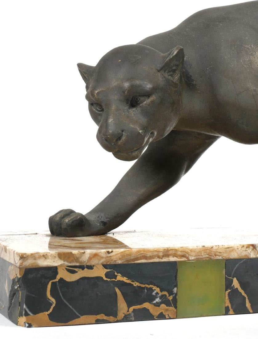 Art Deco Meland Panther Statue on Marble Base - 4