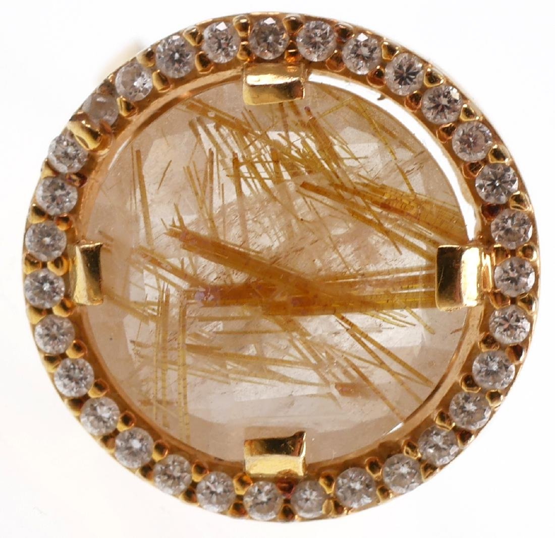 I Reiss 14k Gold Diamond & Rutile Quartz Ring