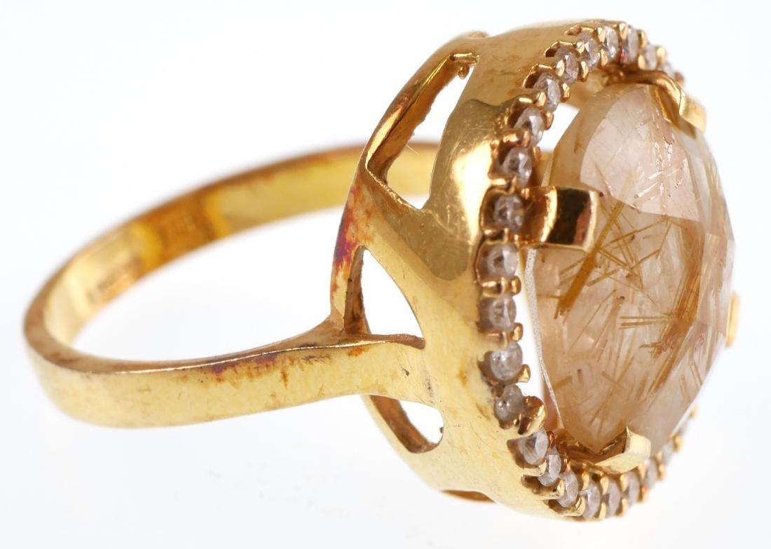 I Reiss 14k Gold Diamond & Rutile Quartz Ring - 2