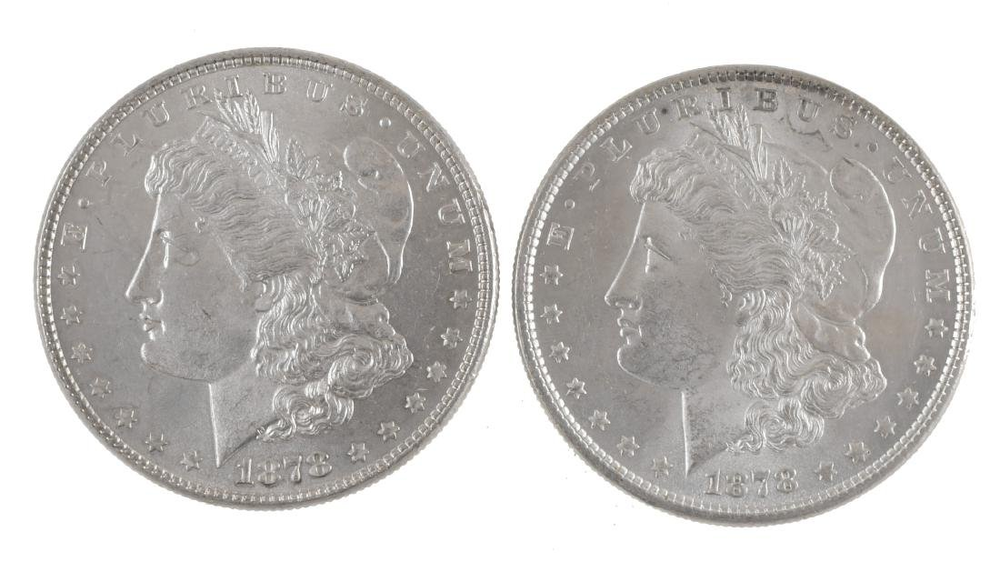 Two 1878 Uncirculated Morgan Silver Dollars
