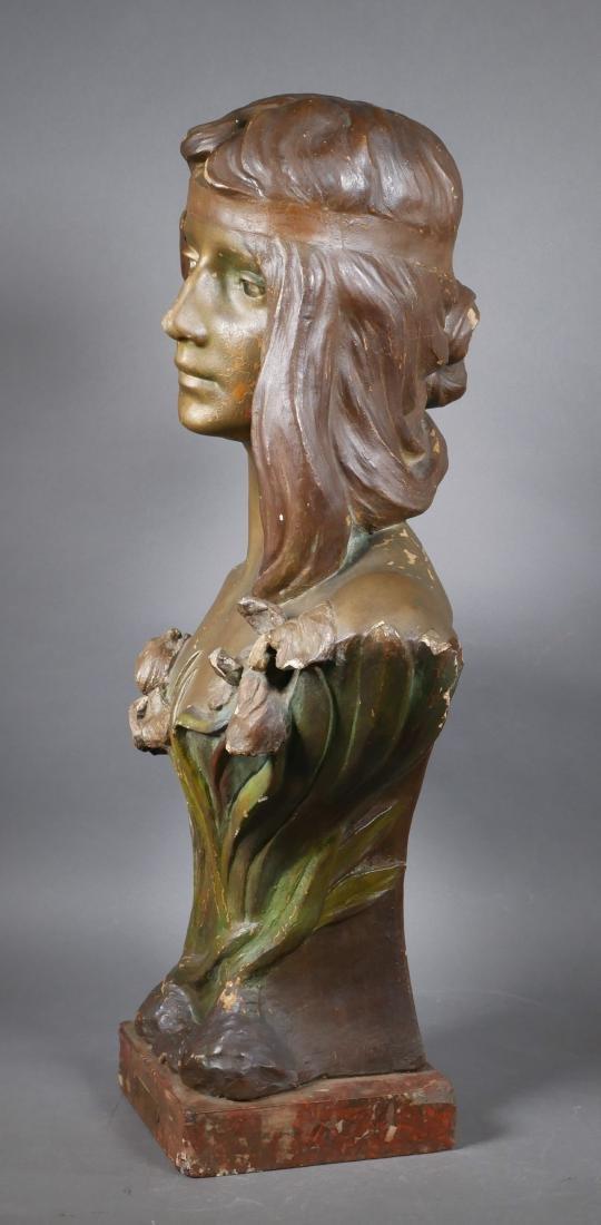 Antique Art Nouveau Chalkware Bust - 3